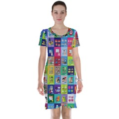 Exquisite Icons Collection Vector Short Sleeve Nightdress