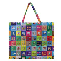 Exquisite Icons Collection Vector Zipper Large Tote Bag by BangZart