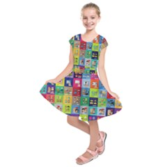 Exquisite Icons Collection Vector Kids  Short Sleeve Dress