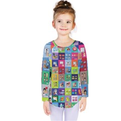 Exquisite Icons Collection Vector Kids  Long Sleeve Tee