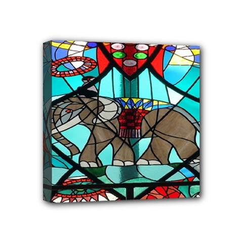 Elephant Stained Glass Mini Canvas 4  X 4  by BangZart