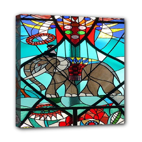 Elephant Stained Glass Mini Canvas 8  X 8  by BangZart