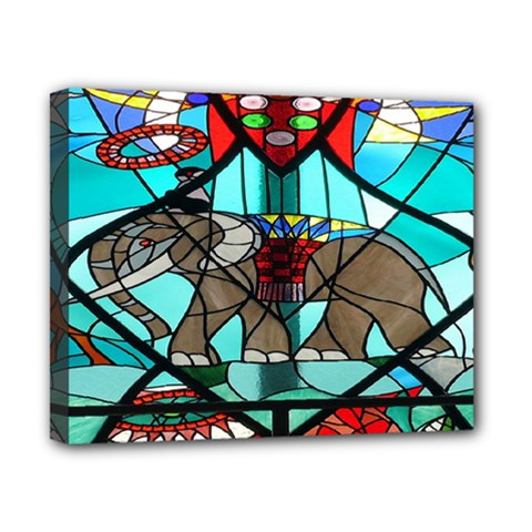Elephant Stained Glass Canvas 10  X 8