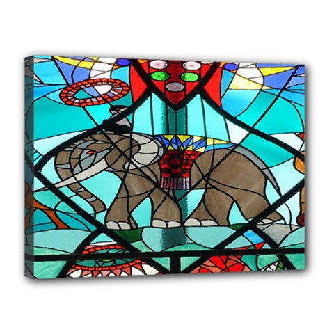 Elephant Stained Glass Canvas 16  X 12  by BangZart