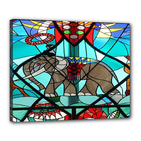 Elephant Stained Glass Canvas 20  X 16  by BangZart
