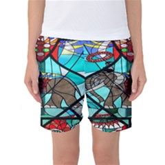 Elephant Stained Glass Women s Basketball Shorts