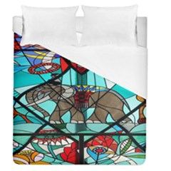 Elephant Stained Glass Duvet Cover (queen Size) by BangZart