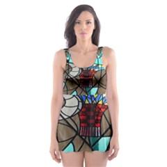 Elephant Stained Glass Skater Dress Swimsuit