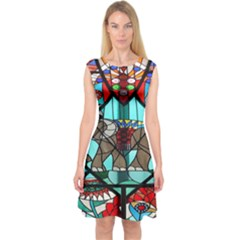 Elephant Stained Glass Capsleeve Midi Dress