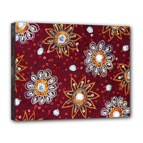 India Traditional Fabric Canvas 14  X 11