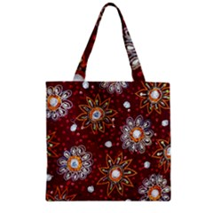 India Traditional Fabric Zipper Grocery Tote Bag by BangZart