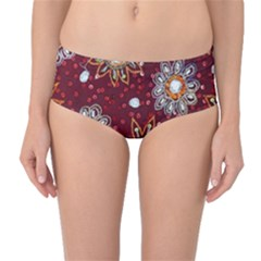 India Traditional Fabric Mid Waist Bikini Bottoms