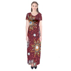 India Traditional Fabric Short Sleeve Maxi Dress