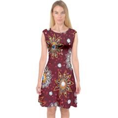 India Traditional Fabric Capsleeve Midi Dress by BangZart