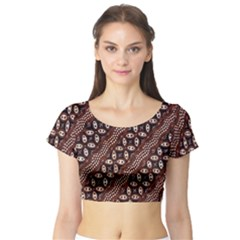 Art Traditional Batik Pattern Short Sleeve Crop Top (tight Fit)