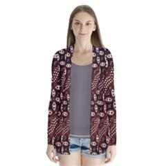 Art Traditional Batik Pattern Drape Collar Cardigan