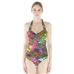 Technology Circuit Computer Halter Swimsuit