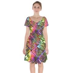 Technology Circuit Computer Short Sleeve Bardot Dress
