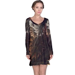 Fractalius Abstract Forests Fractal Fractals Long Sleeve Nightdress
