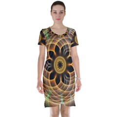 Mixed Chaos Flower Colorful Fractal Short Sleeve Nightdress