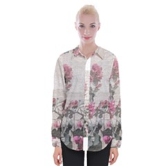 Shabby Chic Style Floral Photo Womens Long Sleeve Shirt