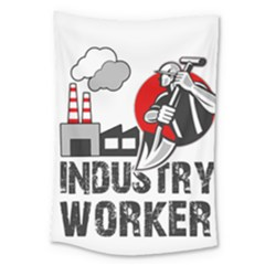 Industry Worker  Large Tapestry by Valentinaart