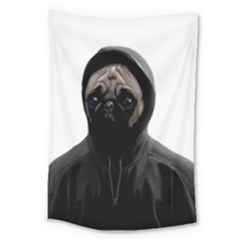 Gangsta Pug Large Tapestry by Valentinaart