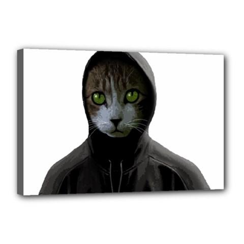 Gangsta Cat Canvas 18  X 12  by Valentinaart