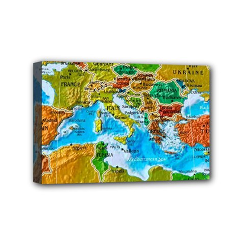 World Map Mini Canvas 6  X 4  by BangZart