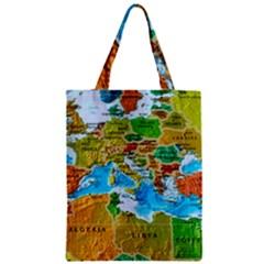 World Map Zipper Classic Tote Bag