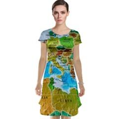World Map Cap Sleeve Nightdress