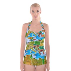 World Map Boyleg Halter Swimsuit  by BangZart