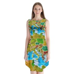 World Map Sleeveless Chiffon Dress