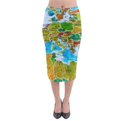 World Map Midi Pencil Skirt by BangZart