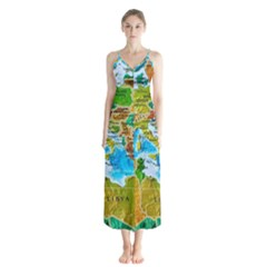 World Map Button Up Chiffon Maxi Dress