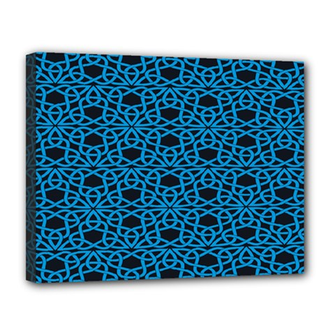 Triangle Knot Blue And Black Fabric Canvas 14  X 11