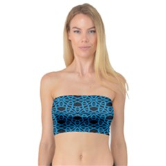 Triangle Knot Blue And Black Fabric Bandeau Top