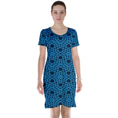 Triangle Knot Blue And Black Fabric Short Sleeve Nightdress