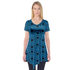 Triangle Knot Blue And Black Fabric Short Sleeve Tunic