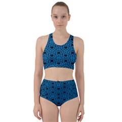 Triangle Knot Blue And Black Fabric Bikini Swimsuit Spa Swimsuit