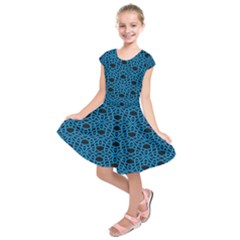Triangle Knot Blue And Black Fabric Kids  Short Sleeve Dress