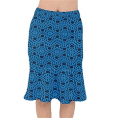 Triangle Knot Blue And Black Fabric Mermaid Skirt
