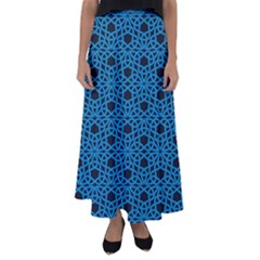 Triangle Knot Blue And Black Fabric Flared Maxi Skirt