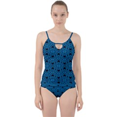 Triangle Knot Blue And Black Fabric Cut Out Top Tankini Set