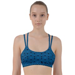 Triangle Knot Blue And Black Fabric Line Them Up Sports Bra