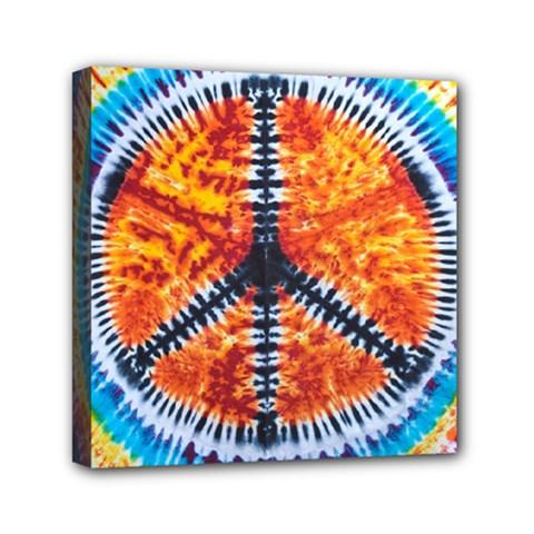 Tie Dye Peace Sign Mini Canvas 6  X 6  by BangZart