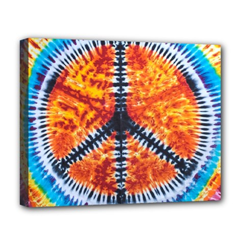 Tie Dye Peace Sign Deluxe Canvas 20  X 16