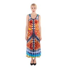 Tie Dye Peace Sign Sleeveless Maxi Dress