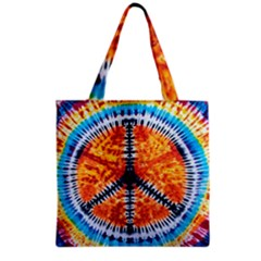 Tie Dye Peace Sign Grocery Tote Bag
