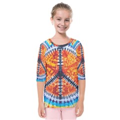 Tie Dye Peace Sign Kids  Quarter Sleeve Raglan Tee by BangZart